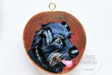 Finn - custom pet portrait on wood slice