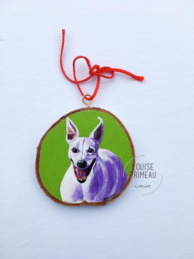 Miles -custom pet portrait on wood slice by Louise's ARTiculations, Ottawa pet portrait artist.