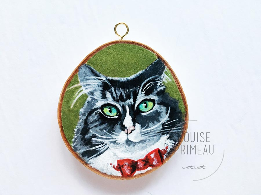 custom pet portrait on wood slice - Reuben