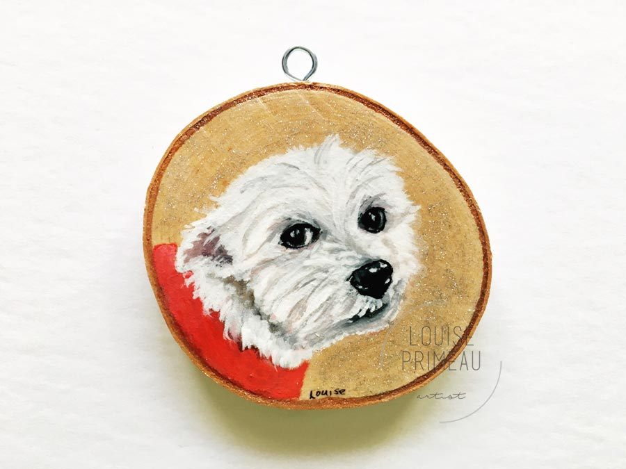 Sophie -custom pet portrait on wood slice by Louise's ARTiculations, Ottawa pet portrait artist.