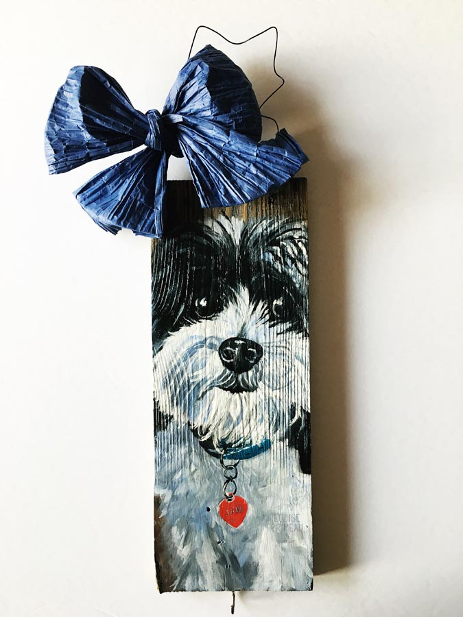 pet portrait on reclaimed wood.