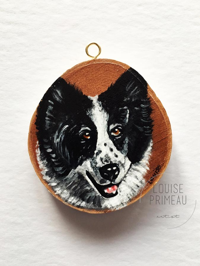 Spirit on wood slice by Ottawa pet portrait artist, Louise Primeau