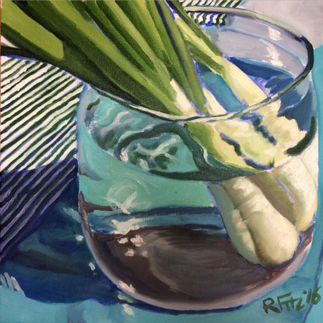 Onions in water by Rob Fitzsimmons, guest artists at Louise's ARTiculations