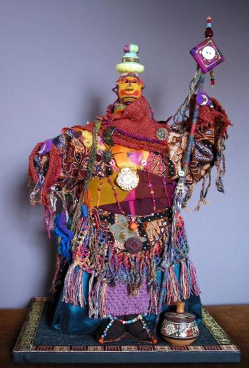 MIxed media doll by Sharon Mann, guest artist at Louise's ARTiculations