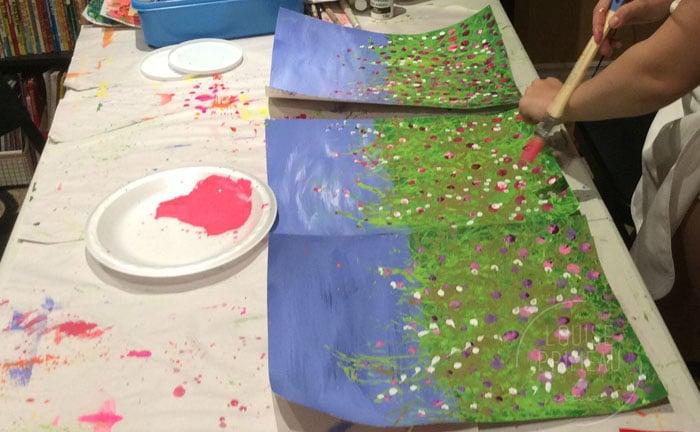 Adding splatter to wildflowers
