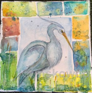 Blue Heron by Monica Skowbo at Louise's ARTiculations