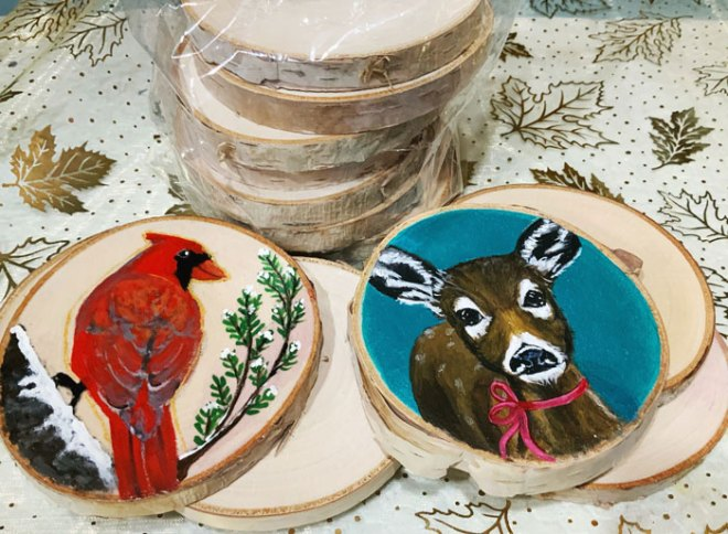 Hand painted wood slice ornaments giveaway