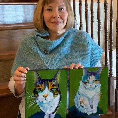 Louise Primeau, Ottawa pet portrait artist with commissioned pet portraits.