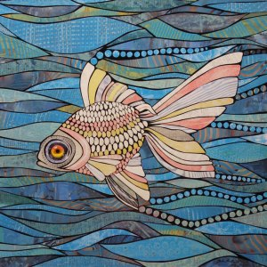 """""""Goldfish"""" paper mosaic by Bebe Keith, guest artist at Louise's ARTiculations"""