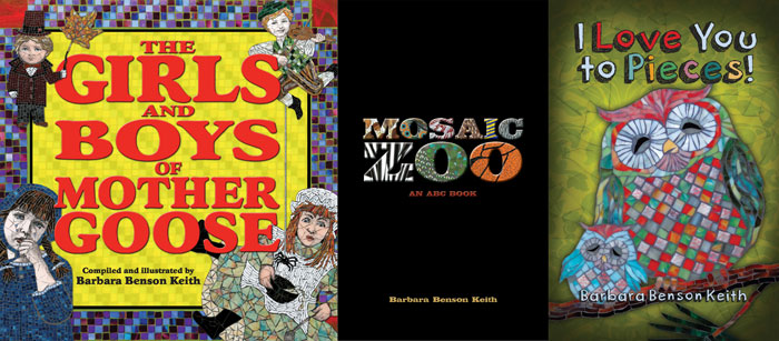 Book covers by Bebe Keith, guest artist at Louise's ARTiculations