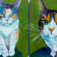 Tigger and Sydney in colourful cat portraits.