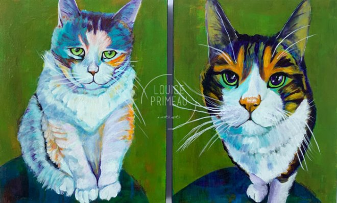 Sydney and Tigger, colourful memorial pet portraits