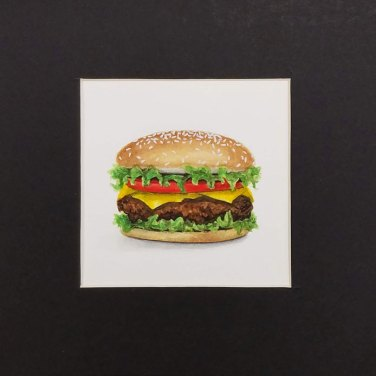 Burger by Christie Markins, guest artist at Louise's ARTiculations
