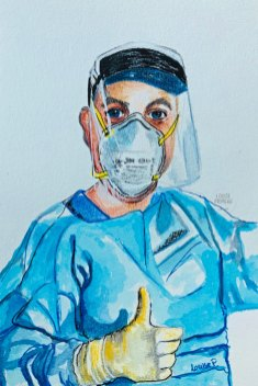 My son in PPE. He is a respiratory therapist.