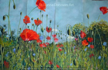 Poppies 4 Panel Dyptich by Donna Donovan, guest artist at Louise's ARTiculations