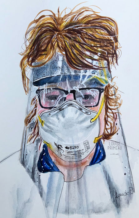 sketch of nurse in full PPE