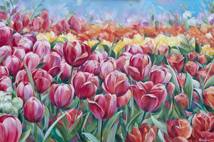 Tulip Field by Alissa Kari Arts, guest artist at Louise's ARTiculations
