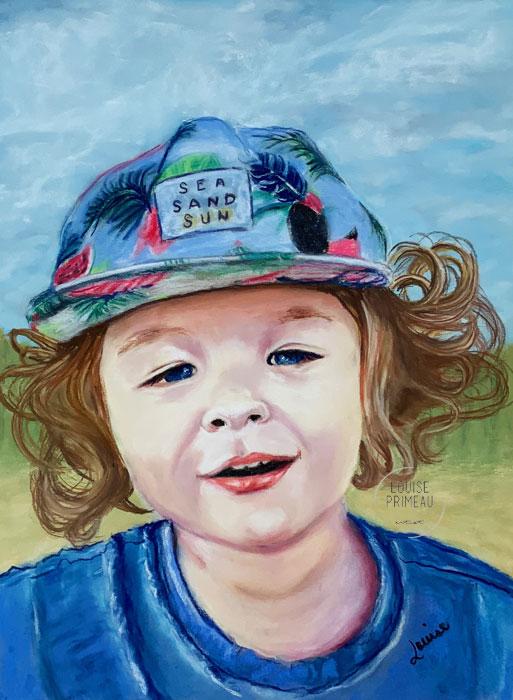 pastel portrait of little boy
