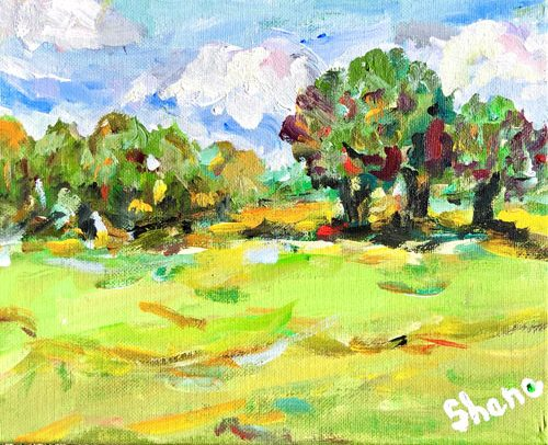 Green Field by Len Shane, guest artist at Louises ARTiculations