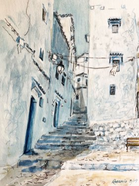 Street Scene by Rosita Frick, guest artist at Louise's ARTiculations