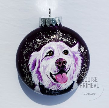 pet portrait on glass ornament