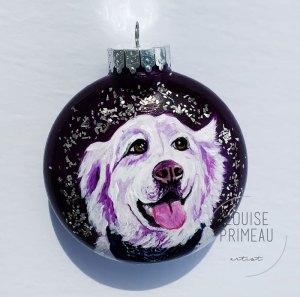 pet portrait on glass ornament