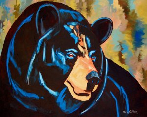 Black Bear by Shirley Rose Cockburn, guest artist at Louise's ARTiculations