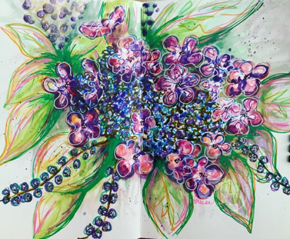 Hydrangea sketch by Louise's ARTiculations