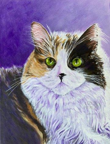 Serena, calico cat portrait by Louise Primeau, Ottawa pet portrait artist.