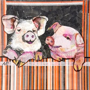 Two Pigs by Agnes McLaughlin, guest artist at Louise's ARTiculations