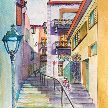 Le Cannet, watercolour, by Agnes McLaughlin, featured artist at Louise's ARTiculations