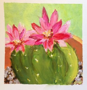 Blooming Cactus by Jane Cobb, guest artist at Louise's ARTiculations