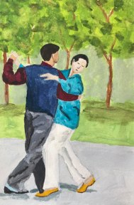 Dancing in the Park by Jane Cobb, guest artist at Louise's ARTiculations