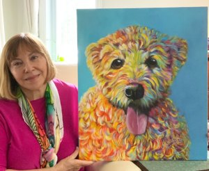 Louise with commissioned painted portrait