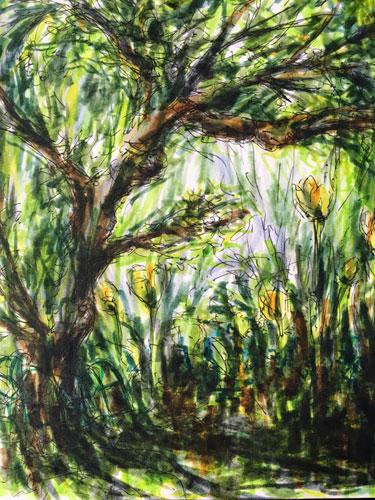 Apple tree and tulips by Christine Milewska