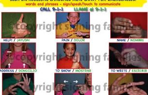 Emergency Communication Chart -ASL- ENGLISH- SPANISH and soon with Mandarin Chinese
