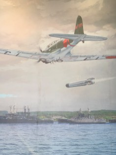 Artwork in an exhibit about the attack on Pearl Harbor