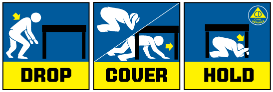 Drop - Cover - Hold words in a box from ShakeOut.org