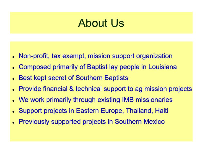 Louisiana Baptists Ag Missions Fellowship