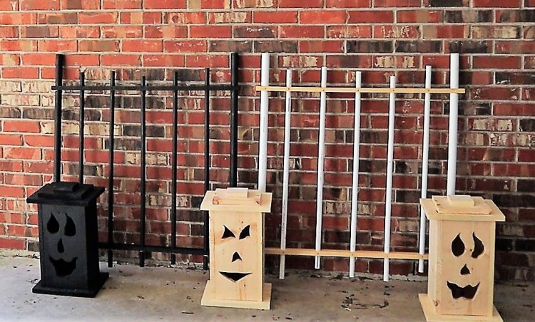 Three Halloween DIY Jack-o-Lantern Light-up boxes.  One painted and the other two ready to be painted.