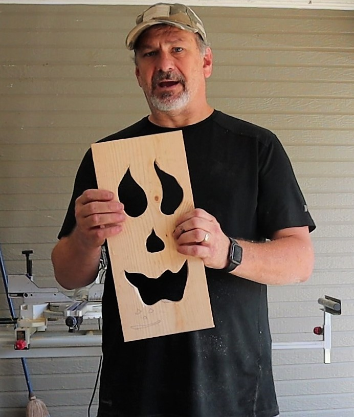 Completed cut-out face for the Halloween DIY Jack-o-Lantern Light-up box.