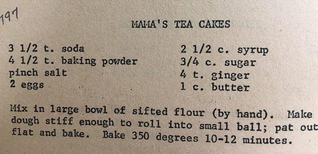 Copy of Mama's Tea Cakes recipe.