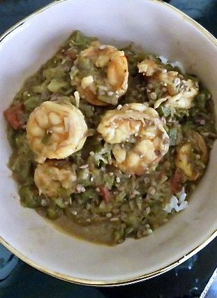 Shrimp Okra Gumbo and rice in a pale pink bowl
