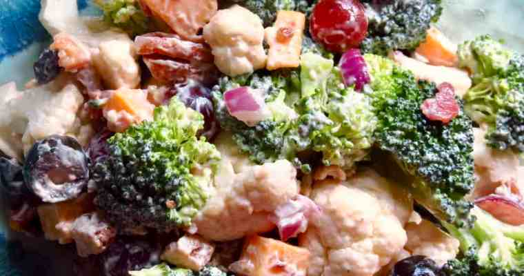 Sweet And Savory Broccoli Cauliflower Salad
