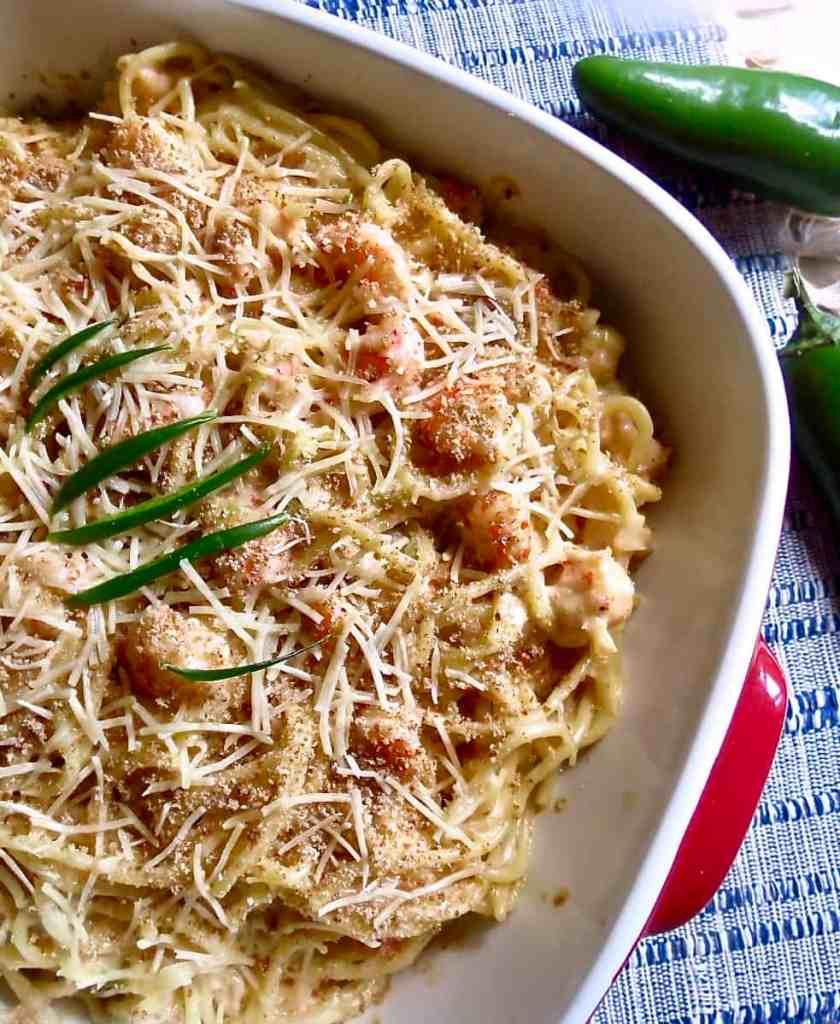 Shrimp And Crawfish Pasta in casserole dish
