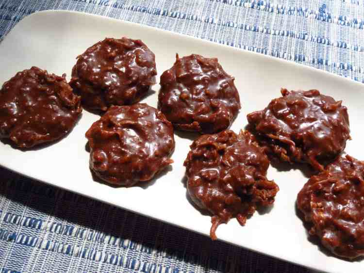 German Chocolate No-Bake Cookies on a white plate.