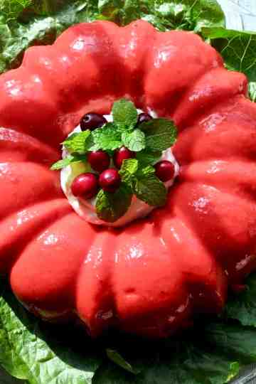 Molded Congealed Salad, Cherry Or Lime Flavored on a bed of lettuce.