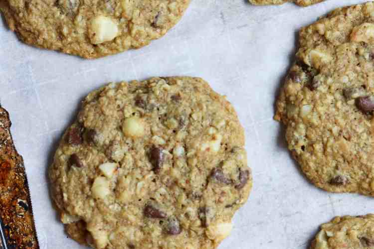 Baked Royale Chocolate Chip Cookies on a pan.