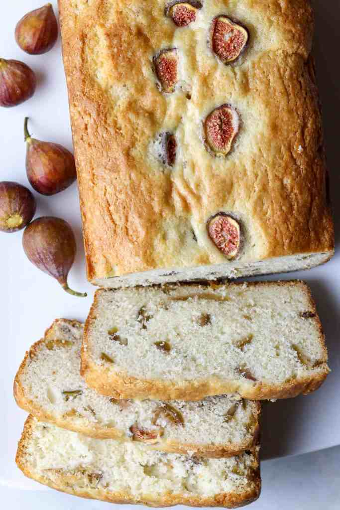 A loaf of Fresh Fig Bread and fresh figs.
