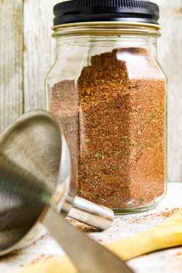 Glass jar of Best Homemade Taco Seasoning Recipe.